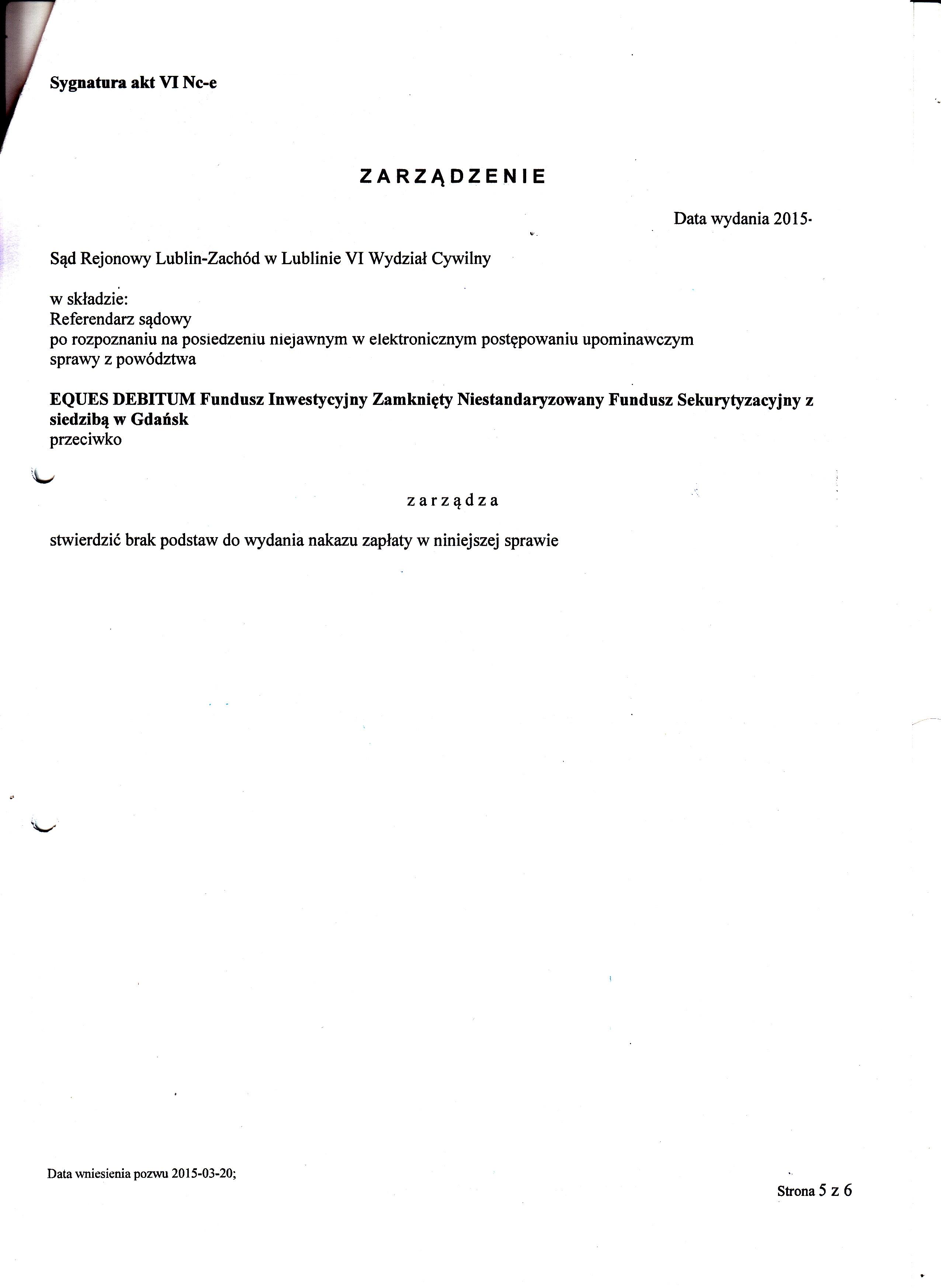 sprzeciw od nakazu zapłaty Eques Debitum 1