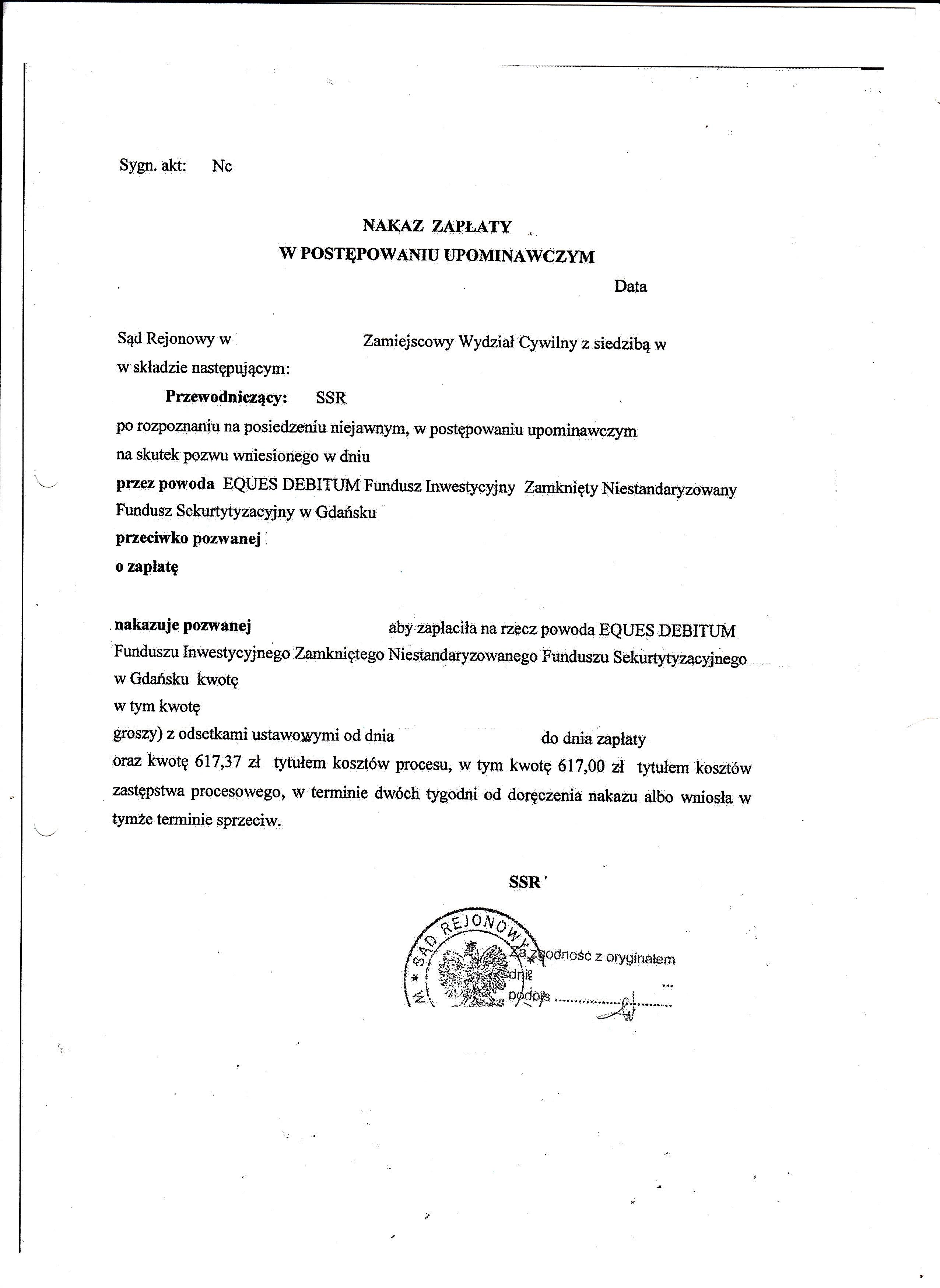 sprzeciw od nakazu zapłaty Eques Debitum 2