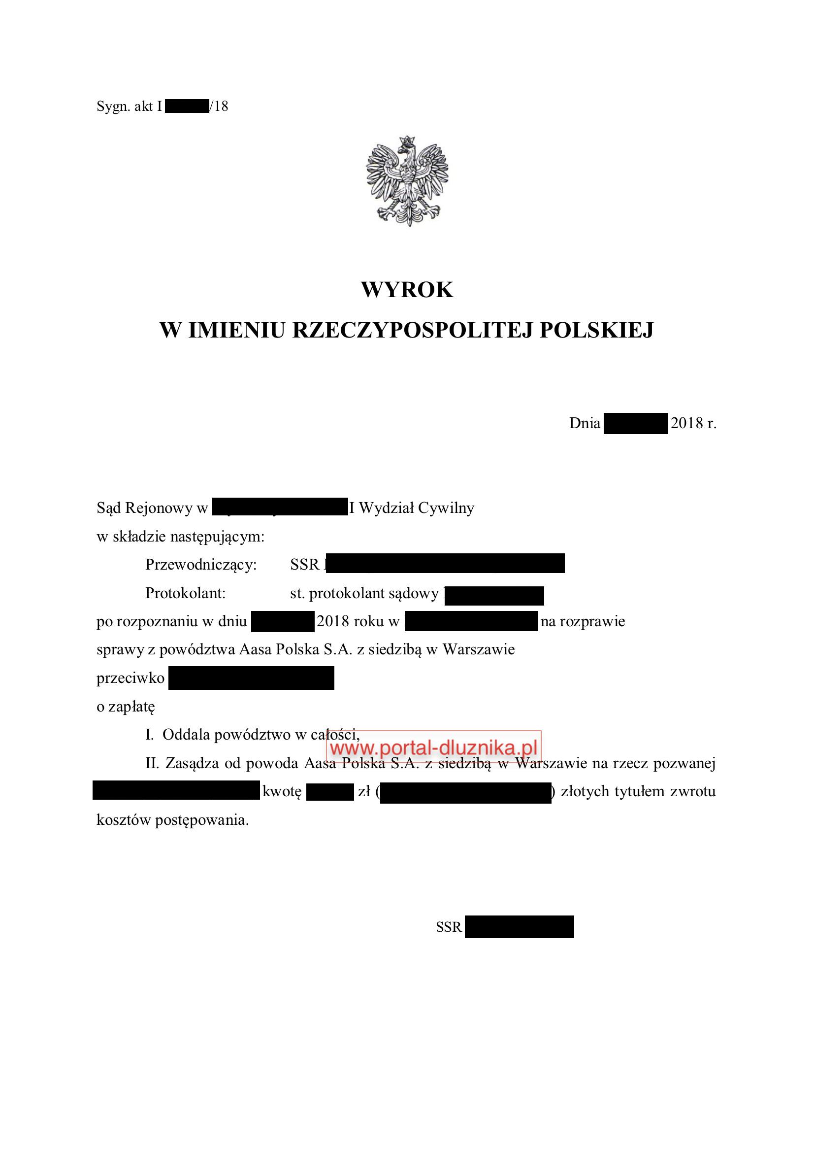 Nakaz zapłaty od Aasa Polska