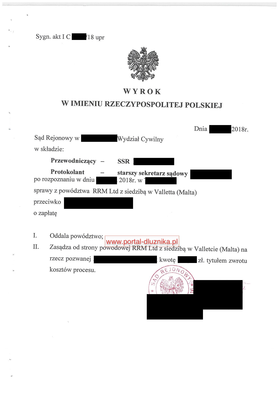 Oddalone powództwo RRM Limited