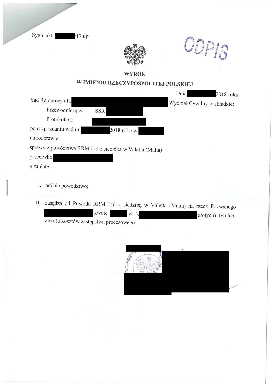 Nakaz zapłatyRRM Limited