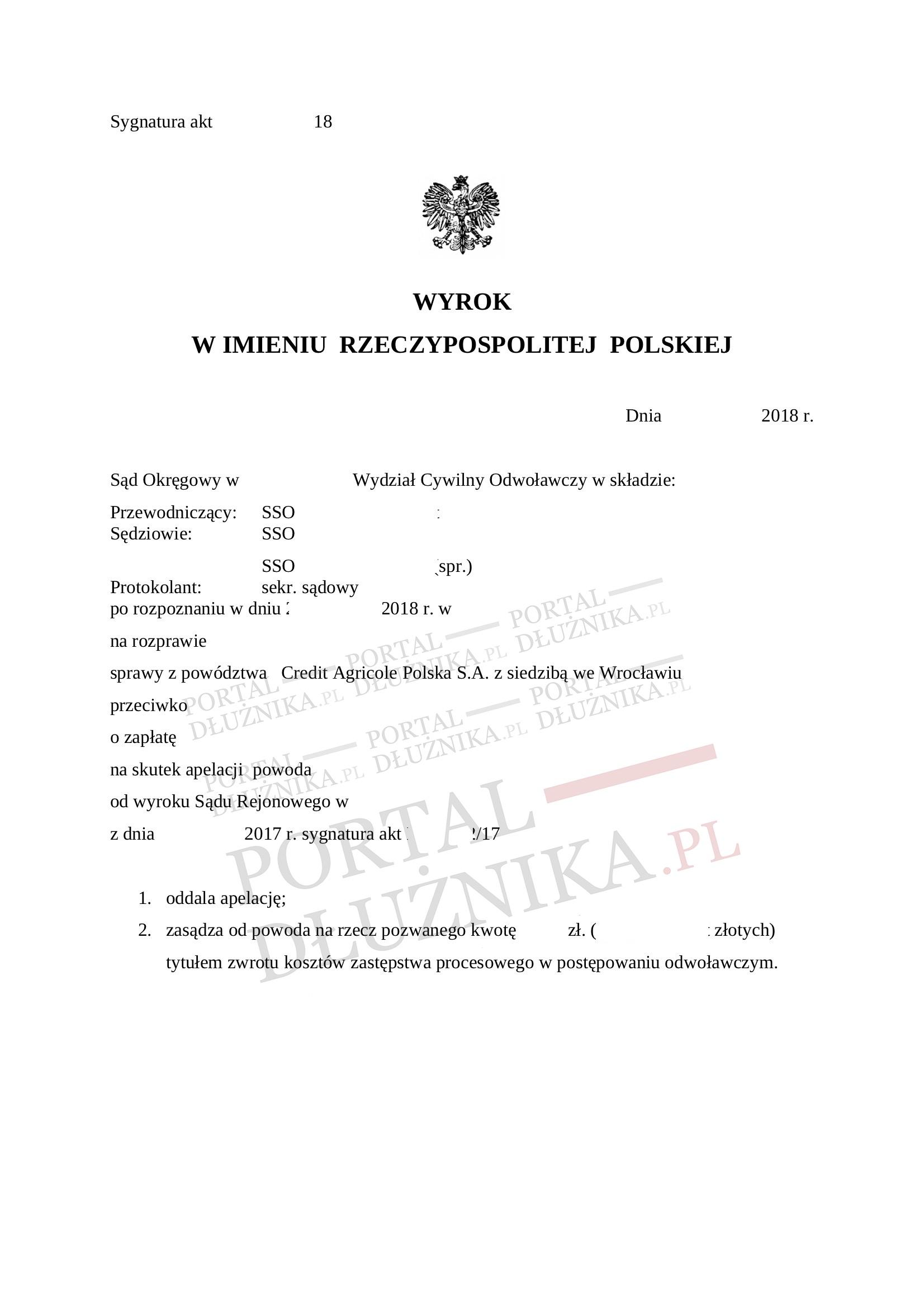 Apelacja Credit Agricole