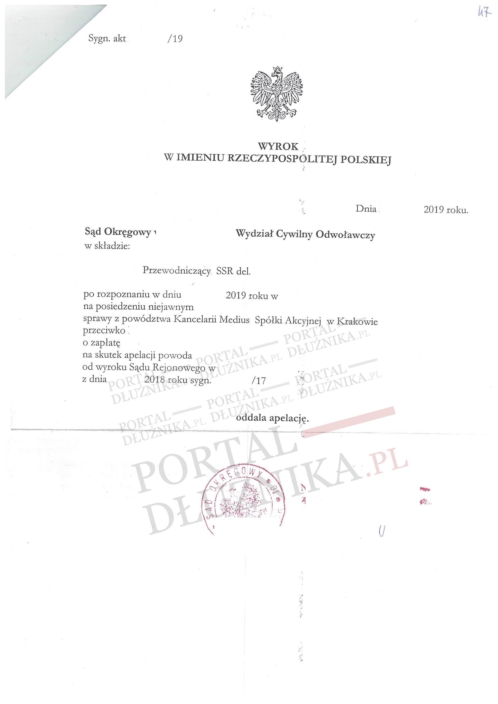 Apelacja Kancelarii Medius