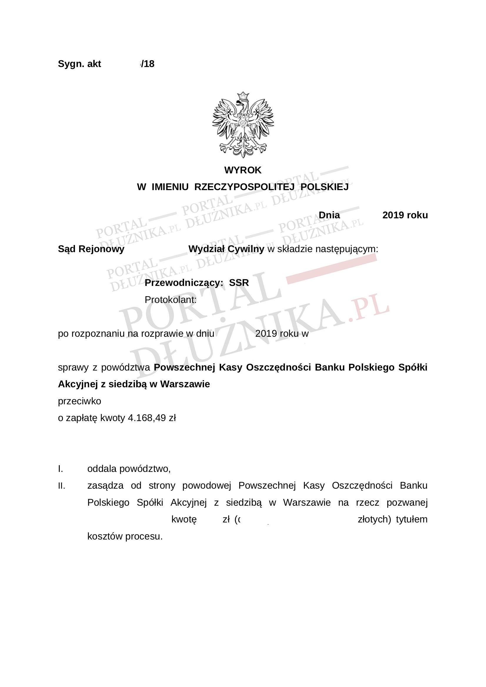 Powództwo PKO BP