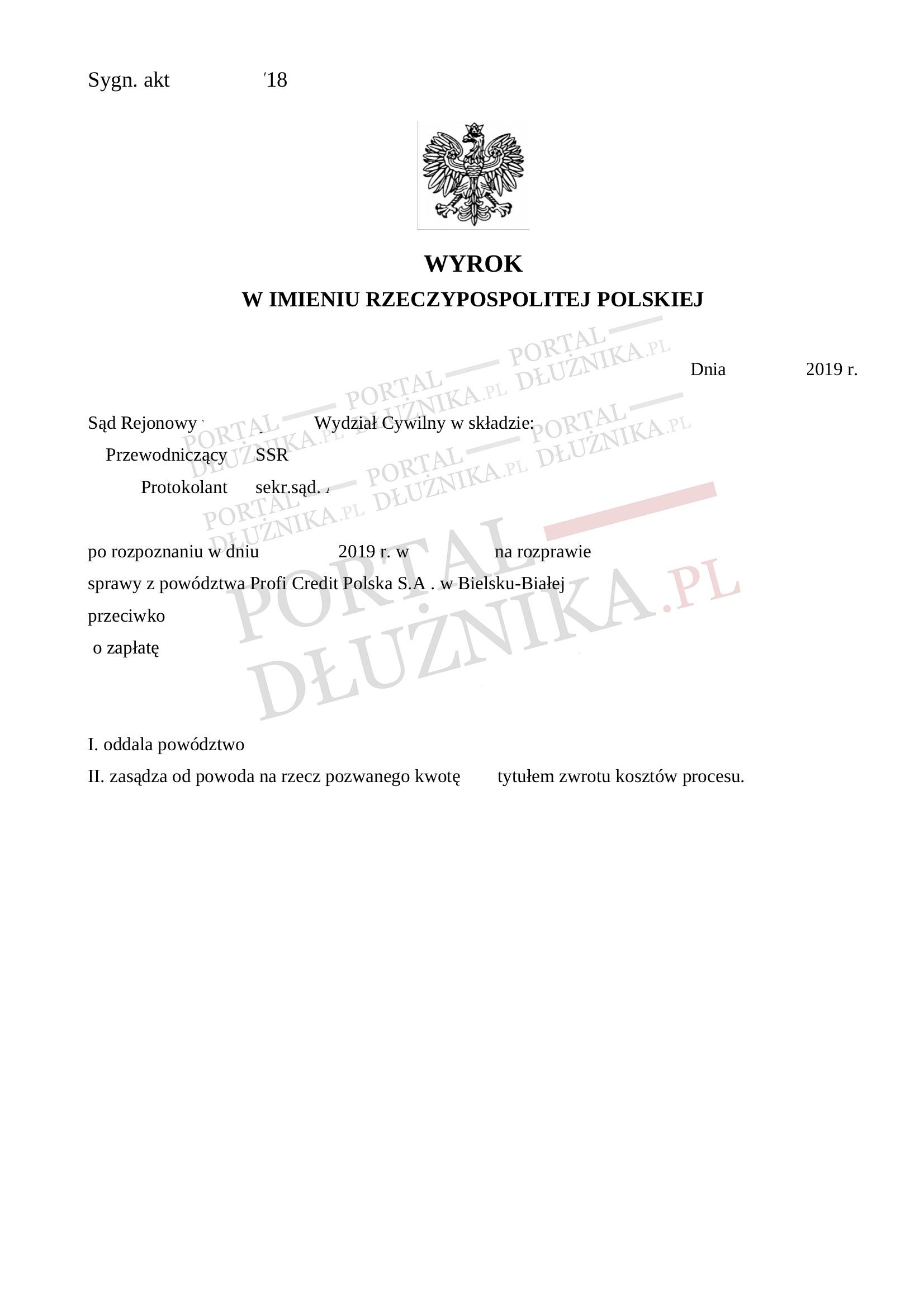 Powództwo Profi Credit