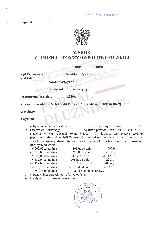 Profi Credit Polska w sądzie