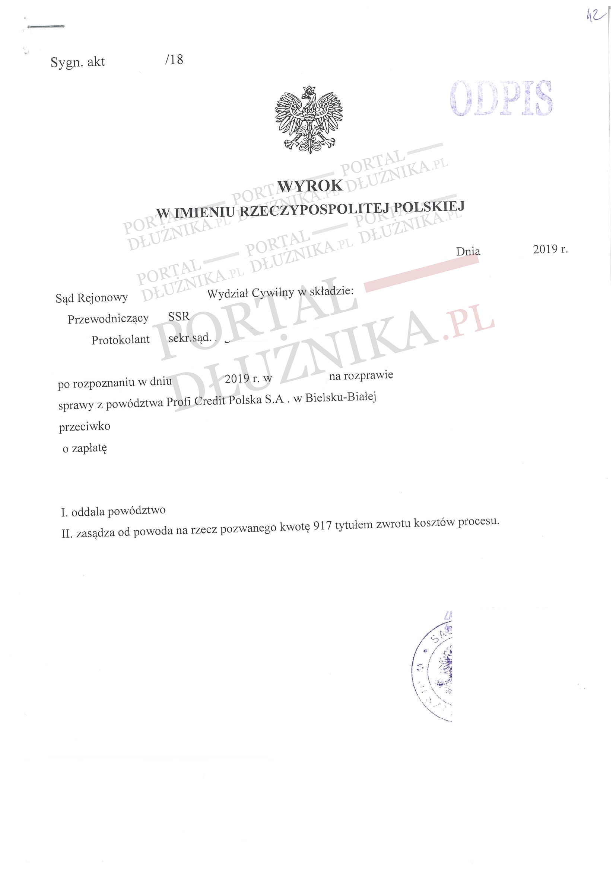 Pożyczka Profi Credit w sądzie