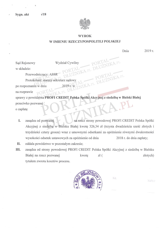 Profi Credit Polska pozywa