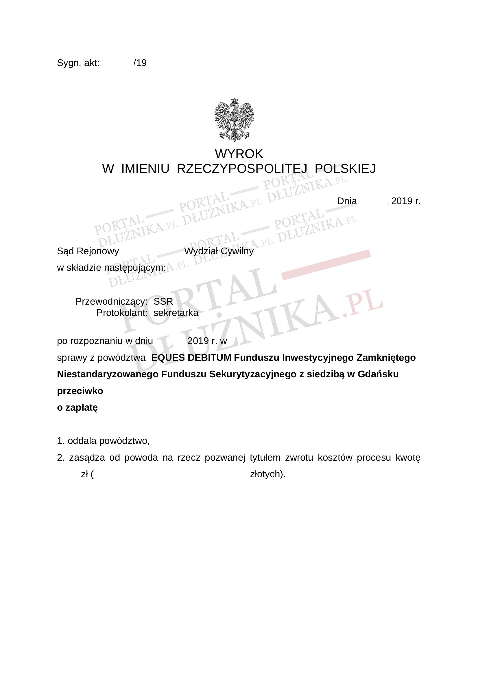 Wyrok w sprawie Eques Debitum NSFIZ