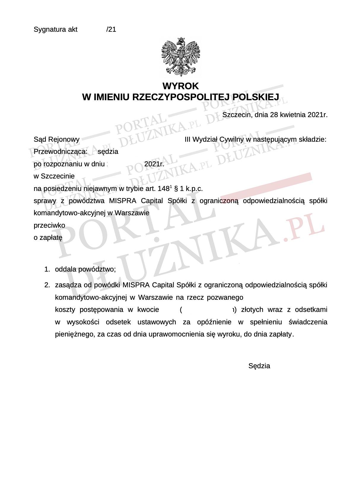 Powództwo Mispra Capital